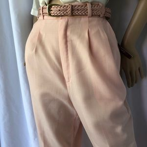 VINTAGE High waisted pleated front linen look pant